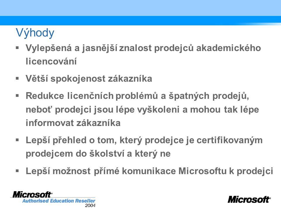 Výhody  Vylepšená a jasnější znalost prodejců akademického licencování  Větší spokojenost zákazníka  Redukce licenčních problémů a špatných prodejů, neboť prodejci jsou lépe vyškoleni a mohou tak lépe informovat zákazníka  Lepší přehled o tom, který prodejce je certifikovaným prodejcem do školství a který ne  Lepší možnost přímé komunikace Microsoftu k prodejci