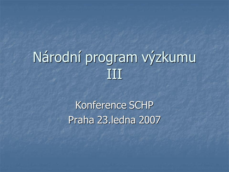 Národní program výzkumu III Konference SCHP Praha 23.ledna 2007