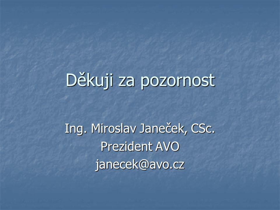 Děkuji za pozornost Ing. Miroslav Janeček, CSc. Prezident AVO janecek@avo.cz