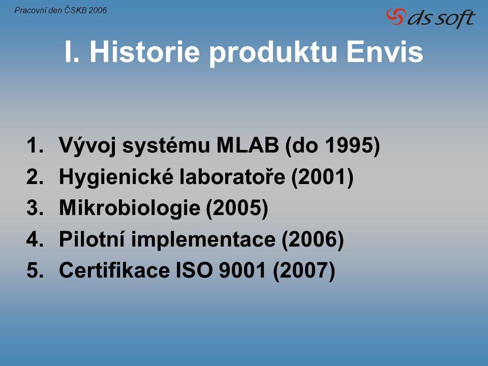 I. Historie produktu Envis 1.Vývoj systému MLAB (do 1995) 2.Hygienické laboratoře (2001) 3.Mikrobiologie (2005) 4.Pilotní implementace (2006) 5.Certif