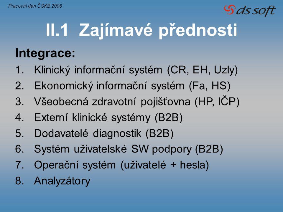 II.1 Zajímavé přednosti Integrace: 1.Klinický informační systém (CR, EH, Uzly) 2.Ekonomický informační systém (Fa, HS) 3.Všeobecná zdravotní pojišťovn