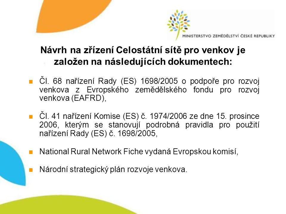 Návrh na zřízení Celostátní sítě pro venkov je založen na následujících dokumentech: Čl.