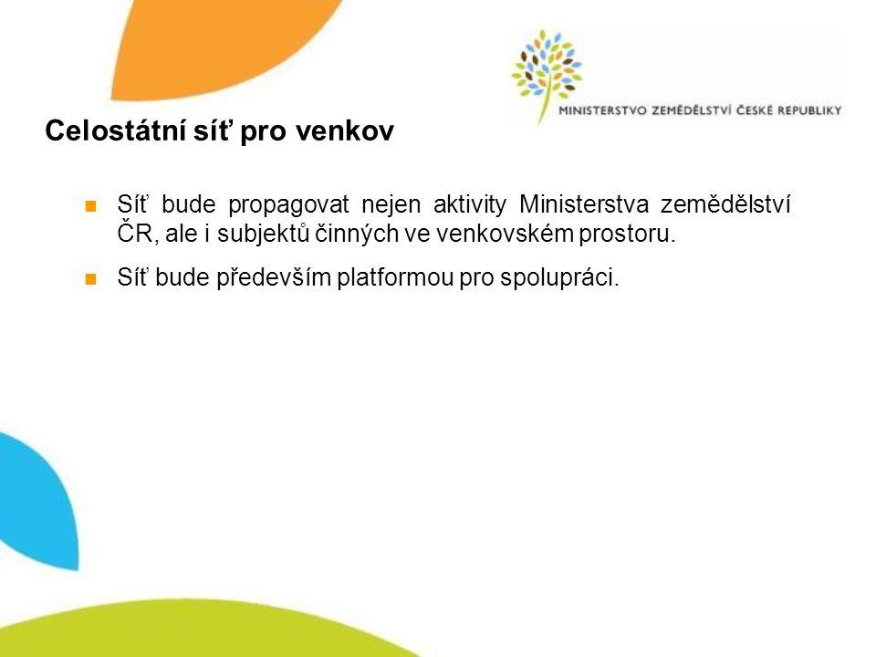 Celostátní síť pro venkov Síť bude propagovat nejen aktivity Ministerstva zemědělství ČR, ale i subjektů činných ve venkovském prostoru.