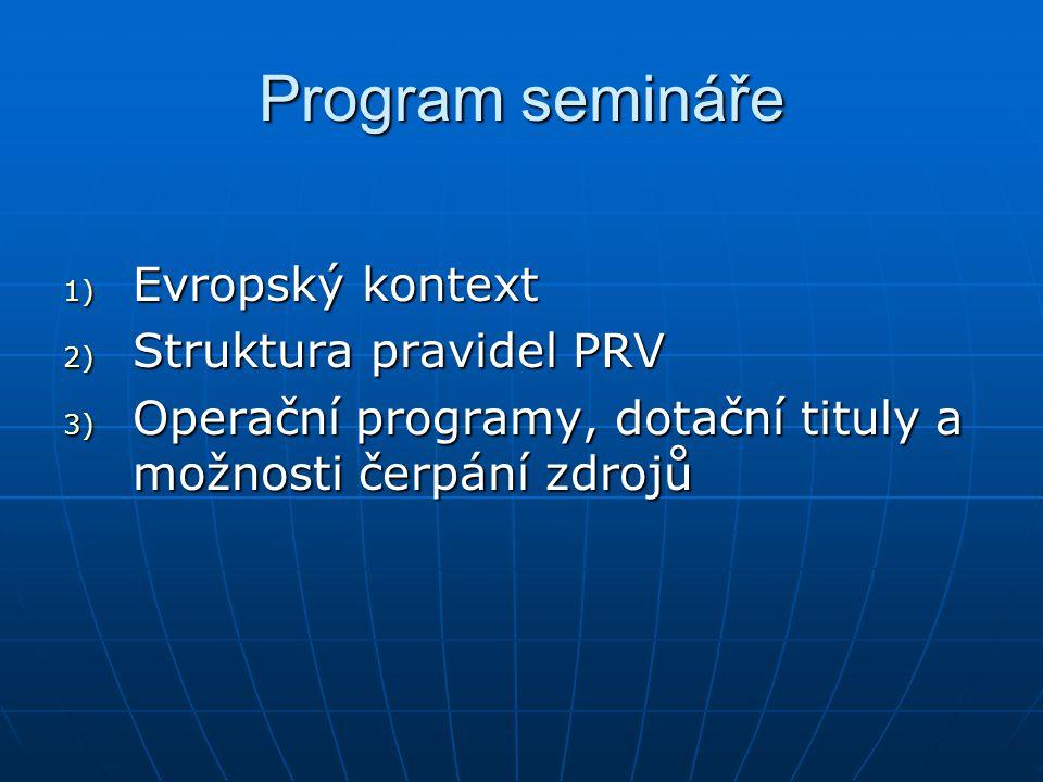 Program semináře 1) Evropský kontext 2) Struktura pravidel PRV 3) Operační programy, dotační tituly a možnosti čerpání zdrojů