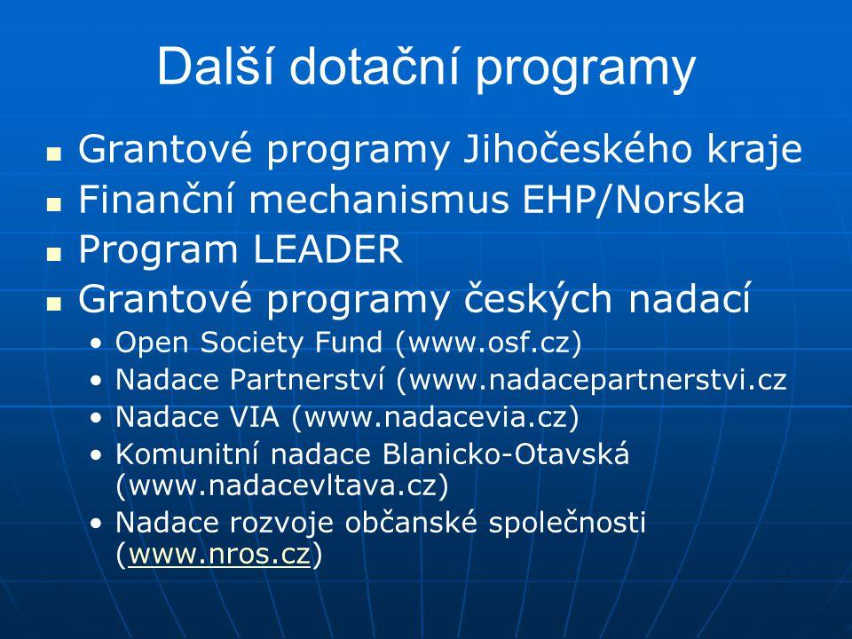 Další dotační programy Grantové programy Jihočeského kraje Finanční mechanismus EHP/Norska Program LEADER Grantové programy českých nadací Open Societ