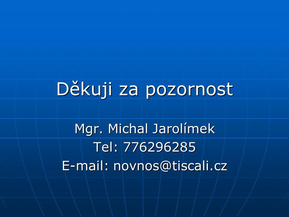 Děkuji za pozornost Mgr. Michal Jarolímek Tel: 776296285 E-mail: novnos@tiscali.cz