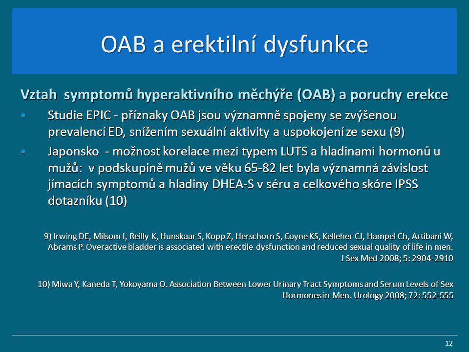 OAB a erektilní dysfunkce Vztah symptomů hyperaktivního měchýře (OAB) a poruchy erekce  Studie EPIC - příznaky OAB jsou významně spojeny se zvýšenou