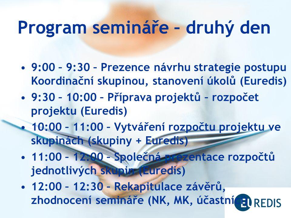 Program semináře – druhý den 9:00 – 9:30 – Prezence návrhu strategie postupu Koordinační skupinou, stanovení úkolů (Euredis) 9:30 – 10:00 – Příprava projektů – rozpočet projektu (Euredis) 10:00 – 11:00 – Vytváření rozpočtu projektu ve skupinách (skupiny + Euredis) 11:00 – 12:00 – Společná prezentace rozpočtů jednotlivých skupin (Euredis) 12:00 – 12:30 – Rekapitulace závěrů, zhodnocení semináře (NK, MK, účastníci)