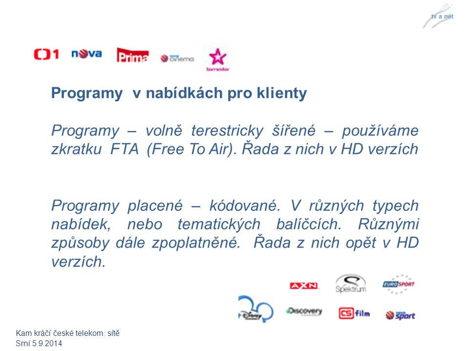 tv a net Programy v nabídkách pro klienty Programy – volně terestricky šířené – používáme zkratku FTA (Free To Air).