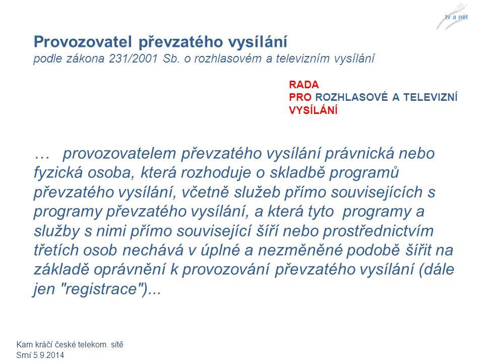 RADA PRO ROZHLASOVÉ A TELEVIZNÍ VYSÍLÁNÍ tv a net Provozovatel převzatého vysílání podle zákona 231/2001 Sb.