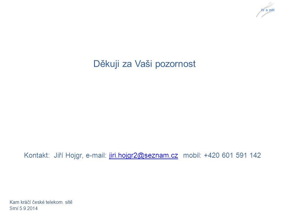 tv a net Děkuji za Vaši pozornost Kontakt: Jiří Hojgr, e-mail: jiri.hojgr2@seznam.cz mobil: +420 601 591 142jiri.hojgr2@seznam.cz Kam kráčí české telekom.