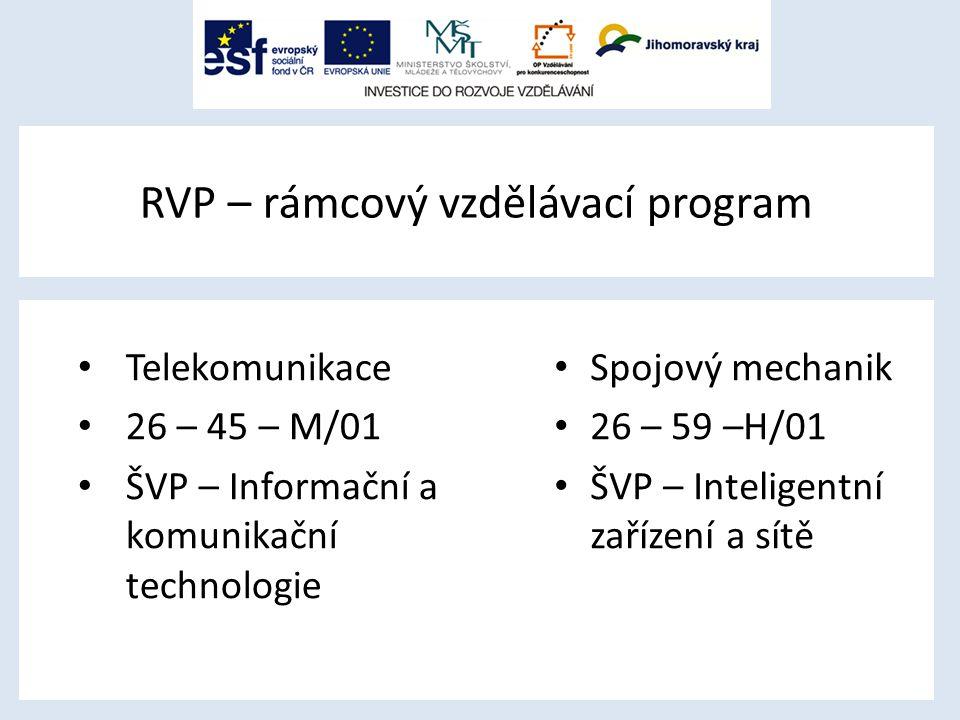 RVP – rámcový vzdělávací program Telekomunikace 26 – 45 – M/01 ŠVP – Informační a komunikační technologie Spojový mechanik 26 – 59 –H/01 ŠVP – Inteligentní zařízení a sítě