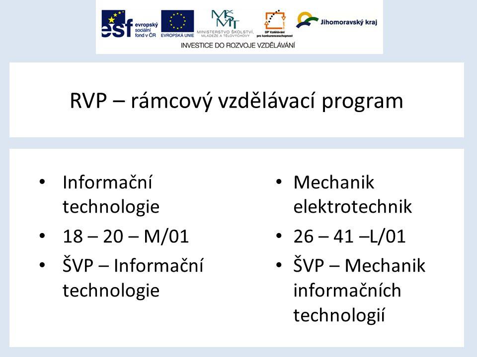 RVP – rámcový vzdělávací program Informační technologie 18 – 20 – M/01 ŠVP – Informační technologie Mechanik elektrotechnik 26 – 41 –L/01 ŠVP – Mechanik informačních technologií