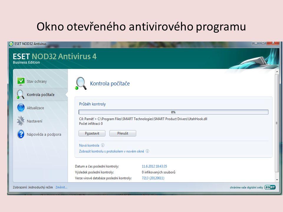 Okno otevřeného antivirového programu