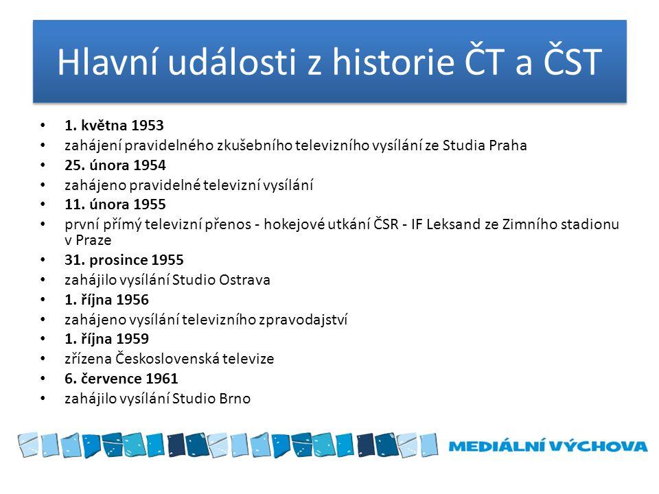 Hlavní události z historie ČT a ČST 1. května 1953 zahájení pravidelného zkušebního televizního vysílání ze Studia Praha 25. února 1954 zahájeno pravi