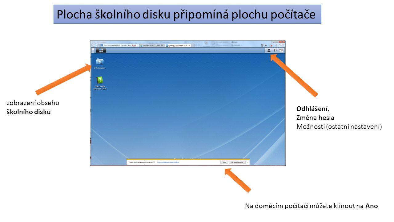 zobrazení obsahu školního disku Odhlášení, Změna hesla Možnosti (ostatní nastavení) Na domácím počítači můžete klinout na Ano Plocha školního disku př
