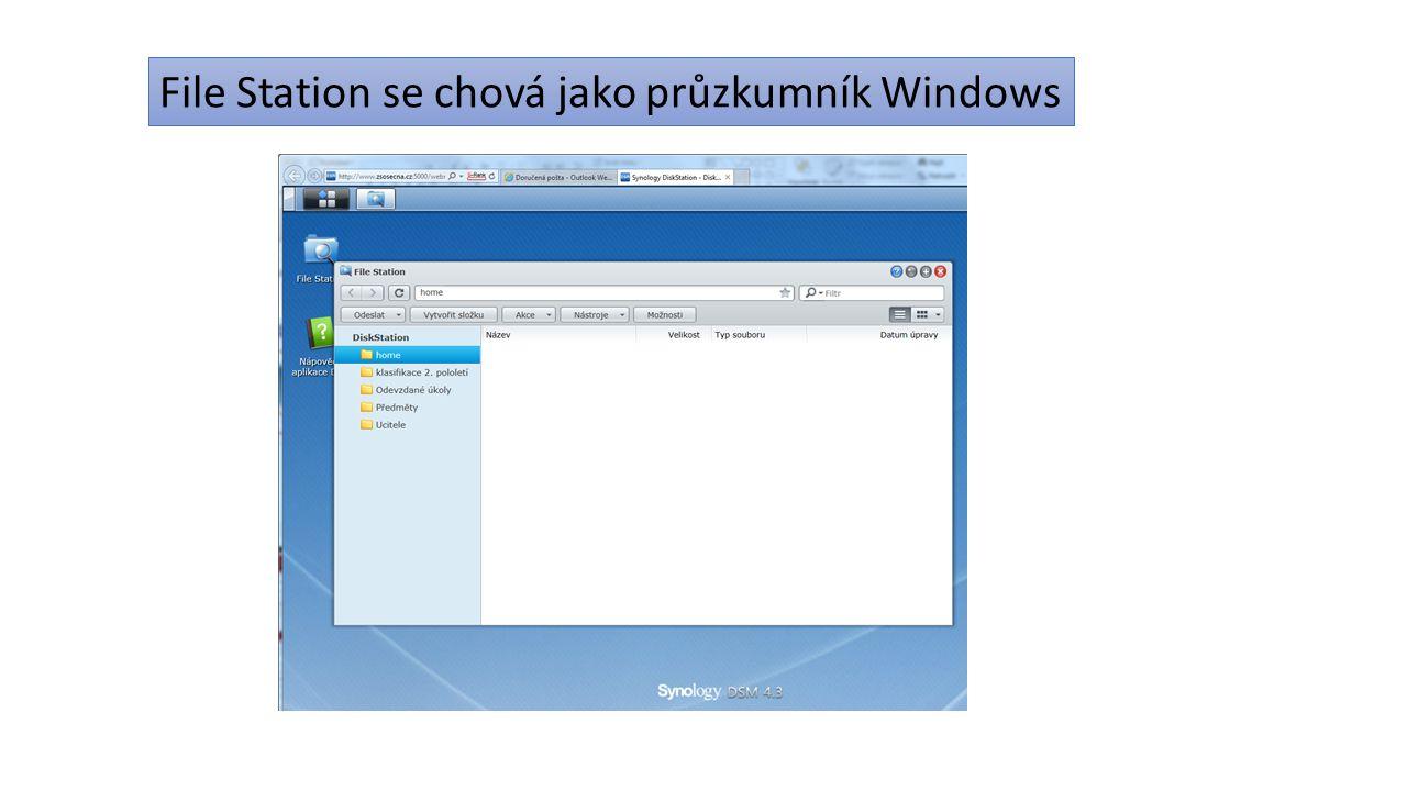 File Station je nastaven tak, že zobrazí i složky uložené v domácím počítači.
