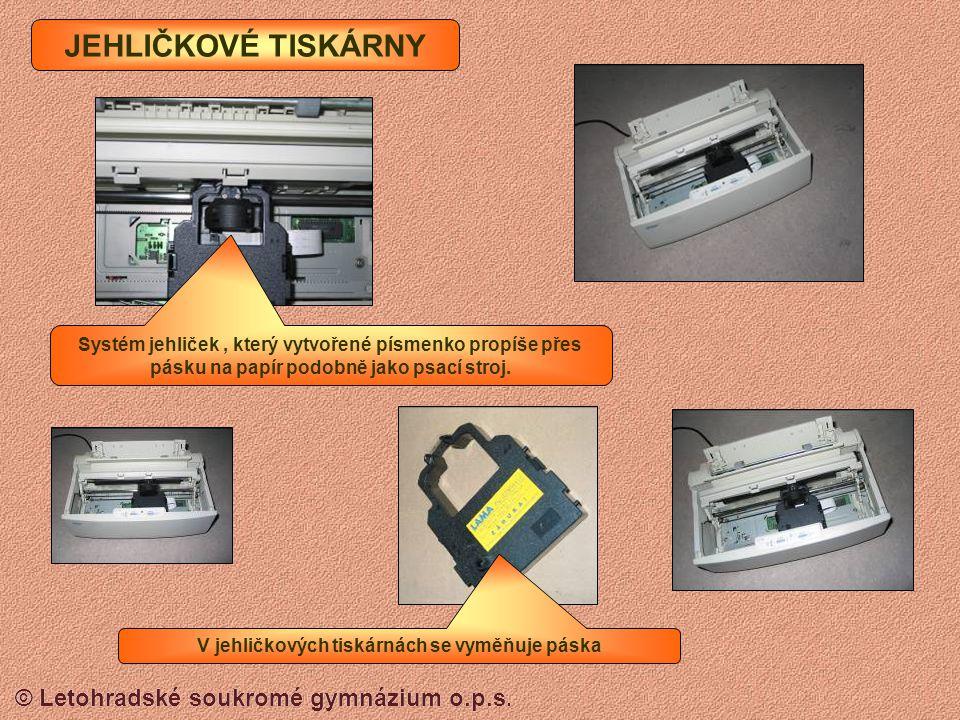 © Letohradské soukromé gymnázium o.p.s. tiskárna tiskne informace na papír scanner (skener) převádí obraz nebo text do počítače modem umožňuje propoje