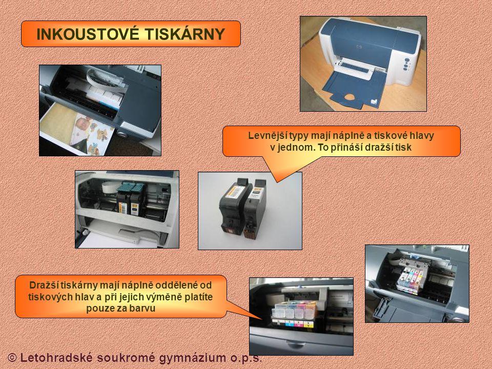 © Letohradské soukromé gymnázium o.p.s. Systém jehliček, který vytvořené písmenko propíše přes pásku na papír podobně jako psací stroj. JEHLIČKOVÉ TIS