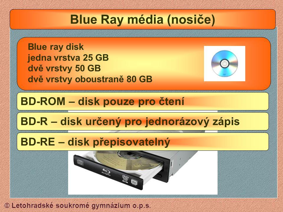 © Letohradské soukromé gymnázium o.p.s. CD-ROM CD A DVD média (nosiče) CD-R (700 MB) Pouze jednorázový zápis (najednou nebo po částech) CD-RW (700 MB)