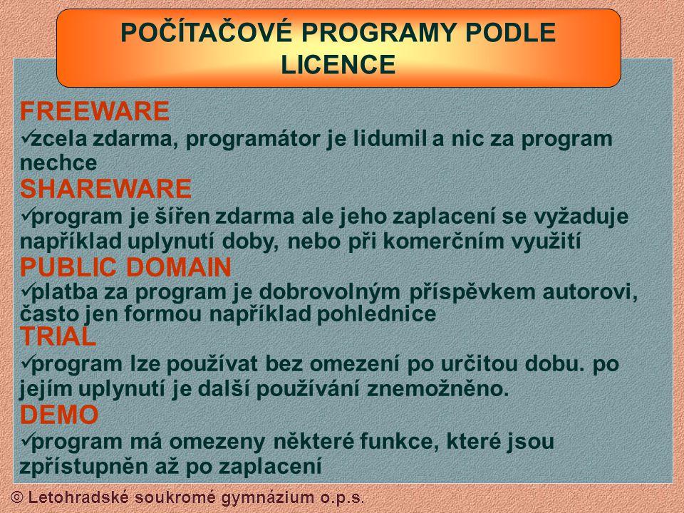 © Letohradské soukromé gymnázium o.p.s. ÚČETNÍ A EKONOMICKÉ PROGRAMY - POHODA VÝUKOVÉ A ZÁBAVNÉ PROGRAMY - SLUNÍČKO