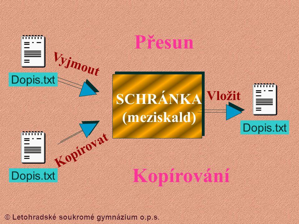 © Letohradské soukromé gymnázium o.p.s.  Schránka je místo (prostor) v operační paměti pro dočasné uložení objektů (soubory, složky, texty, obrázky a