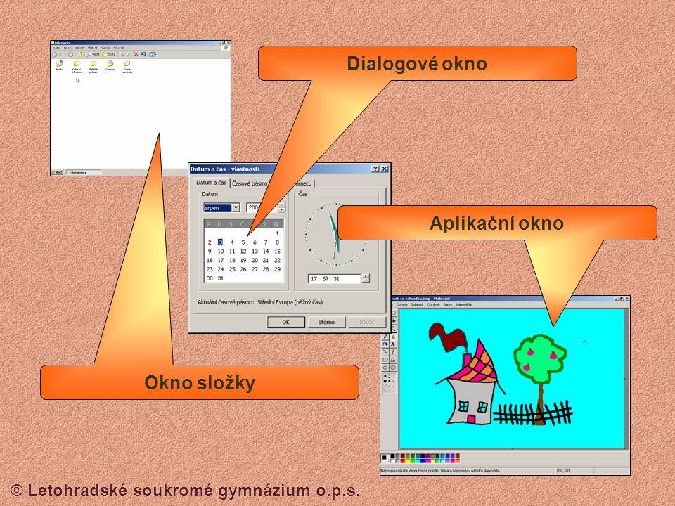 © Letohradské soukromé gymnázium o.p.s. Nabídka – Start – Windows 98 Seznam naposledy použitých datových souborů Nastavení operačního systému Možnost