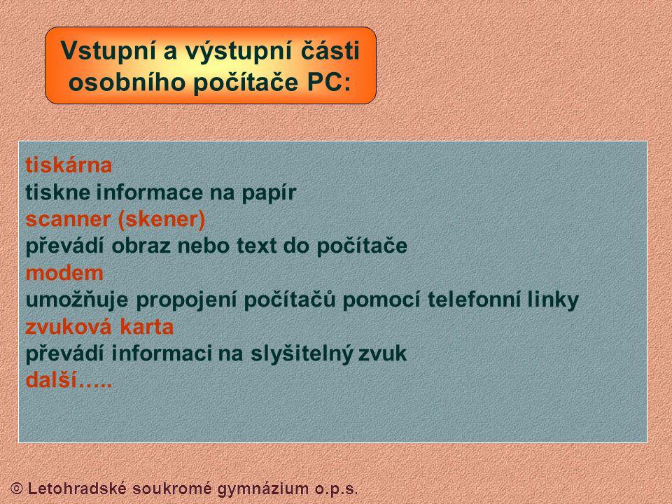 © Letohradské soukromé gymnázium o.p.s. KLÁVESNICE Kurzorové šipky Číslice (kalkulačka) Písmenka a číslice (Psací stroj) Kontrolka NumLock (musí svíti