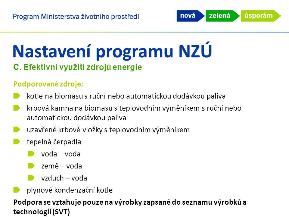 Nastavení programu NZÚ C. Efektivní využití zdrojů energie Podporované zdroje: kotle na biomasu s ruční nebo automatickou dodávkou paliva krbová kamna