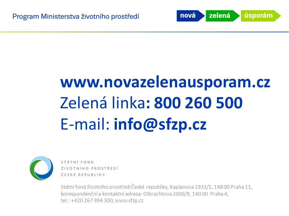 Státní fond životního prostředí České republiky, Kaplanova 1931/1, 148 00 Praha 11, korespondenční a kontaktní adresa: Olbrachtova 2006/9, 140 00 Prah