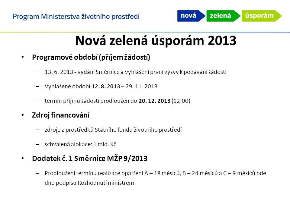 Programové období (příjem žádostí) – 13. 6. 2013 - vydání Směrnice a vyhlášení první výzvy k podávání žádostí – Vyhlášené období 12. 8. 2013 – 29. 11.