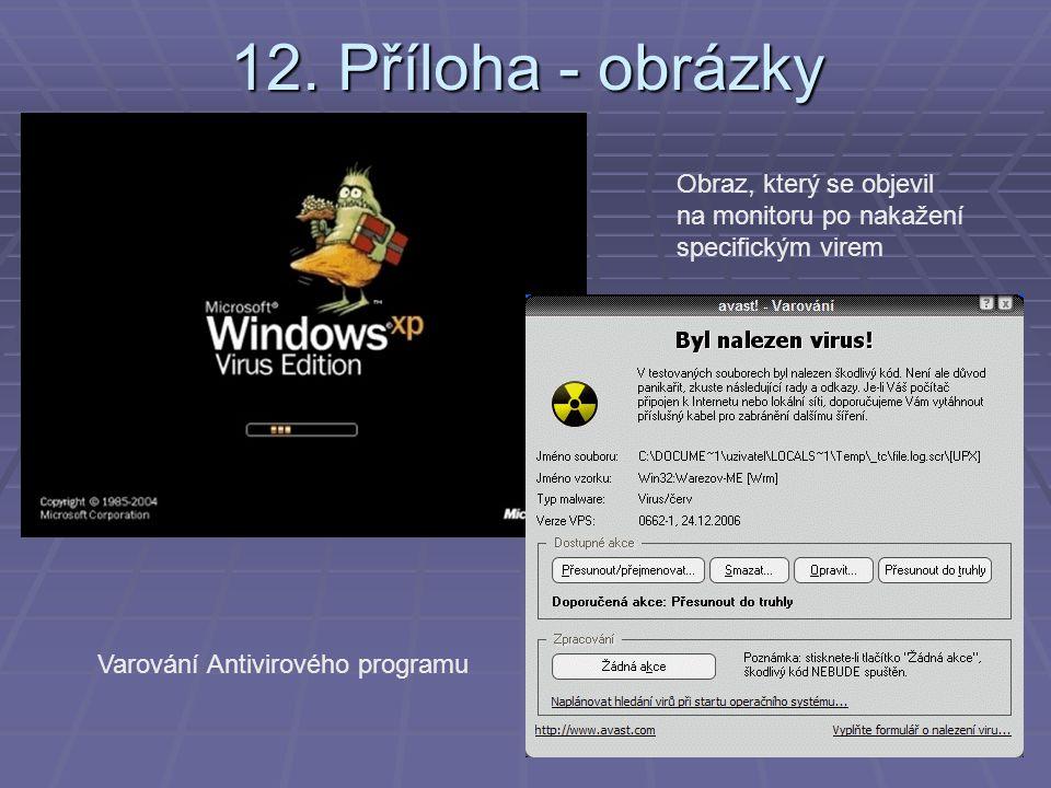 12. Příloha - obrázky Obraz, který se objevil na monitoru po nakažení specifickým virem Varování Antivirového programu
