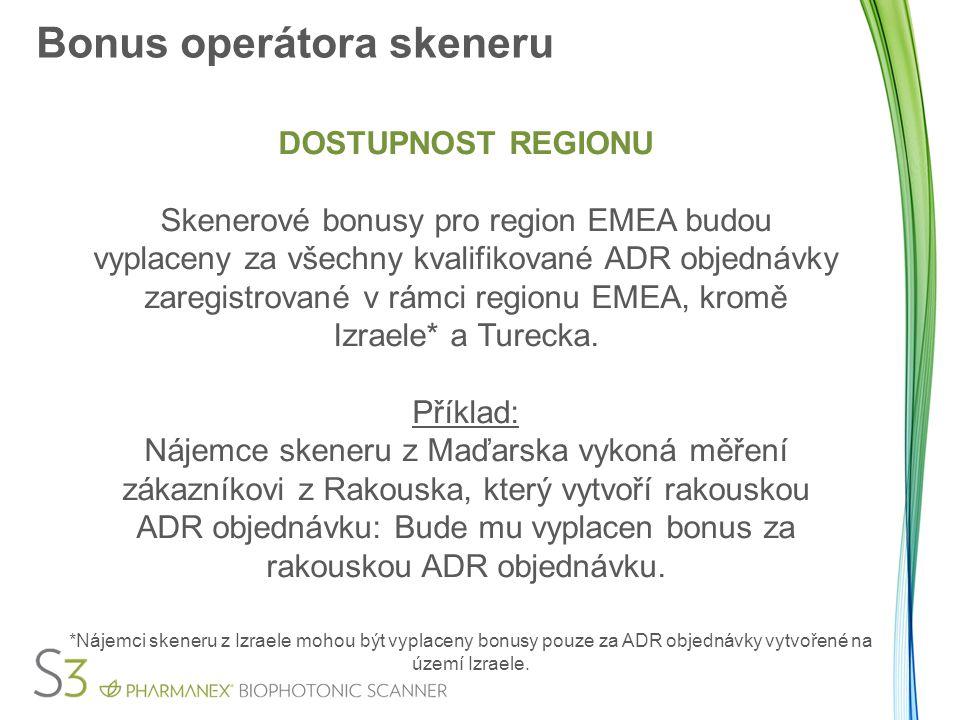 Bonus operátora skeneru DOSTUPNOST REGIONU Skenerové bonusy pro region EMEA budou vyplaceny za všechny kvalifikované ADR objednávky zaregistrované v r