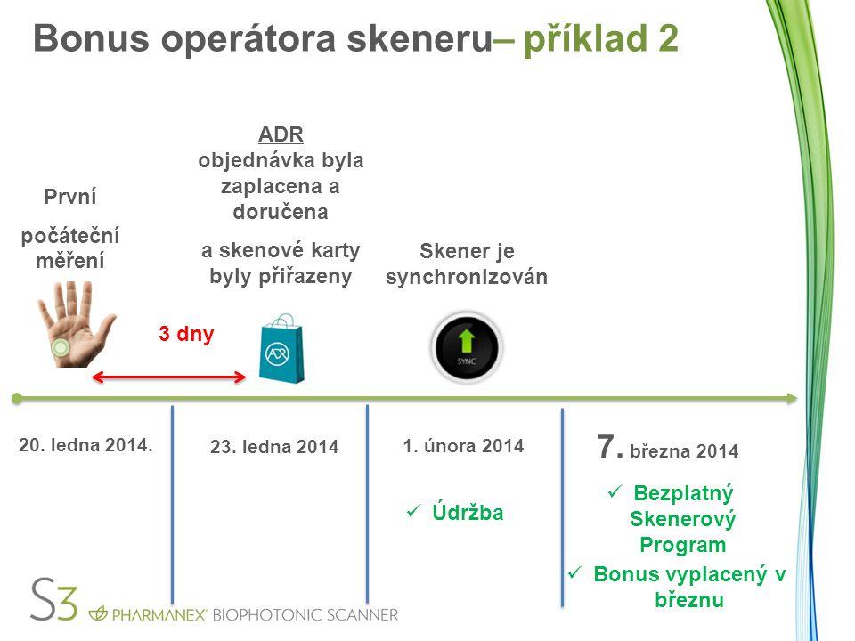 První počáteční měření 3 dny 20. ledna 2014. 23. ledna 2014 Údržba Bezplatný Skenerový Program Bonus vyplacený v březnu Bonus operátora skeneru– příkl