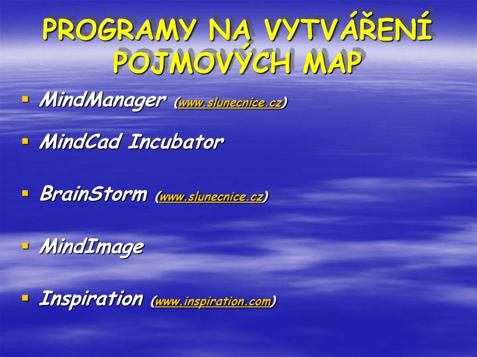 PROGRAMY NA VYTVÁŘENÍ POJMOVÝCH MAP PROGRAMY NA VYTVÁŘENÍ POJMOVÝCH MAP  MindManager (www.slunecnice.cz) www.slunecnice.cz  MindCad Incubator  BrainStorm (www.slunecnice.cz) www.slunecnice.cz  MindImage  Inspiration (www.inspiration.com) www.inspiration.com