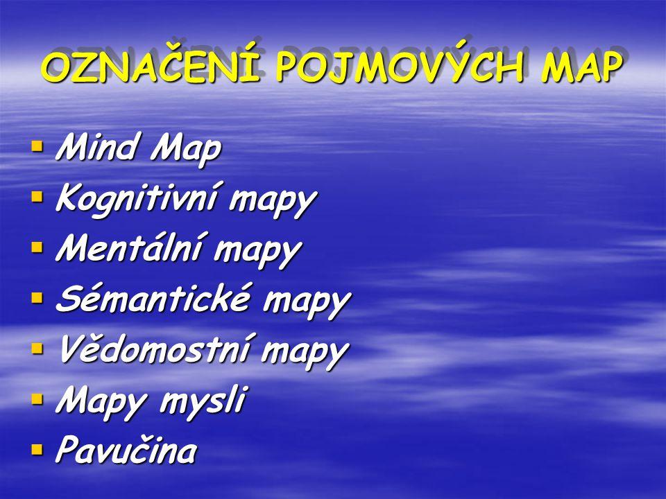OZNAČENÍ POJMOVÝCH MAP OZNAČENÍ POJMOVÝCH MAP OZNAČENÍ POJMOVÝCH MAP  Mind Map  Kognitivní mapy  Mentální mapy  Sémantické mapy  Vědomostní mapy  Mapy mysli  Pavučina