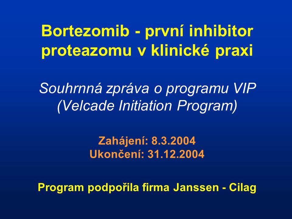 Bortezomib - první inhibitor proteazomu v klinické praxi Souhrnná zpráva o programu VIP (Velcade Initiation Program) Zahájení: 8.3.2004 Ukončení: 31.12.2004 Program podpořila firma Janssen - Cilag
