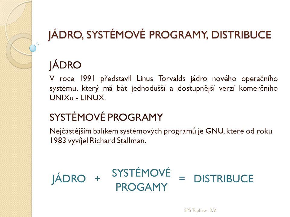 JÁDRO, SYSTÉMOVÉ PROGRAMY, DISTRIBUCE JÁDRO V roce 1991 představil Linus Torvalds jádro nového operačního systému, který má bát jednodušší a dostupněj