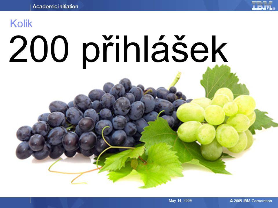 Academic initiation © 2009 IBM Corporation May 14, 2009 Kolik 200 přihlášek