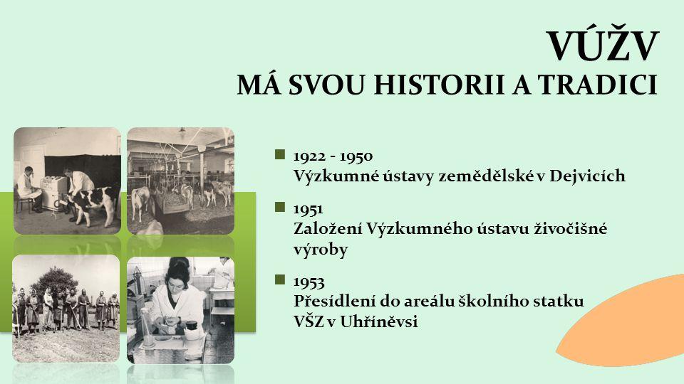 1922 - 1950 Výzkumné ústavy zemědělské v Dejvicích 1951 Založení Výzkumného ústavu živočišné výroby 1953 Přesídlení do areálu školního statku VŠZ v Uhříněvsi VÚŽV MÁ SVOU HISTORII A TRADICI