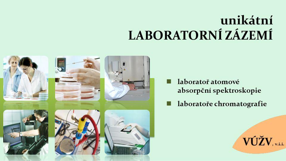 unikátní LABORATORNÍ ZÁZEMÍ laboratoř atomové absorpční spektroskopie laboratoře chromatografie