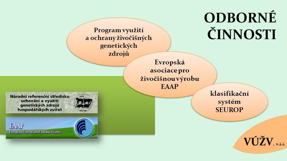 ODBORNÉ ČINNOSTI Program využití a ochrany živočišných genetických zdrojů Program využití a ochrany živočišných genetických zdrojů Evropská asociace p