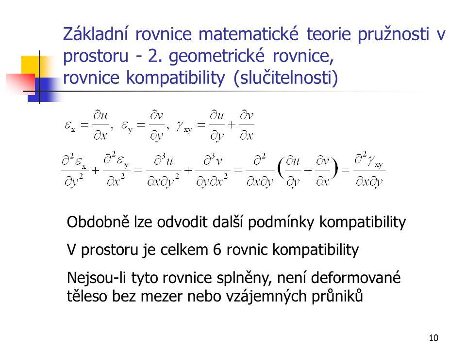 10 Základní rovnice matematické teorie pružnosti v prostoru - 2. geometrické rovnice, rovnice kompatibility (slučitelnosti) Obdobně lze odvodit další