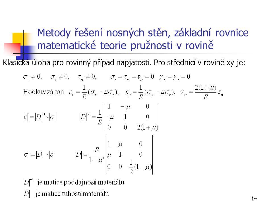 14 Metody řešení nosných stěn, základní rovnice matematické teorie pružnosti v rovině Klasická úloha pro rovinný případ napjatosti. Pro střednicí v ro