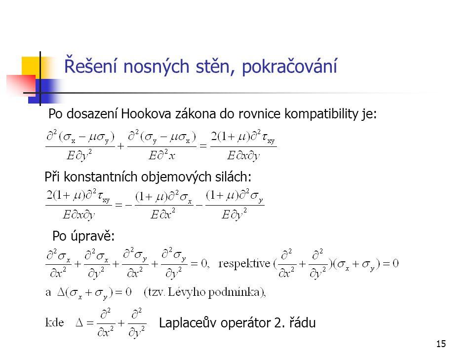 15 Řešení nosných stěn, pokračování Po dosazení Hookova zákona do rovnice kompatibility je: Laplaceův operátor 2. řádu Po úpravě: Při konstantních obj