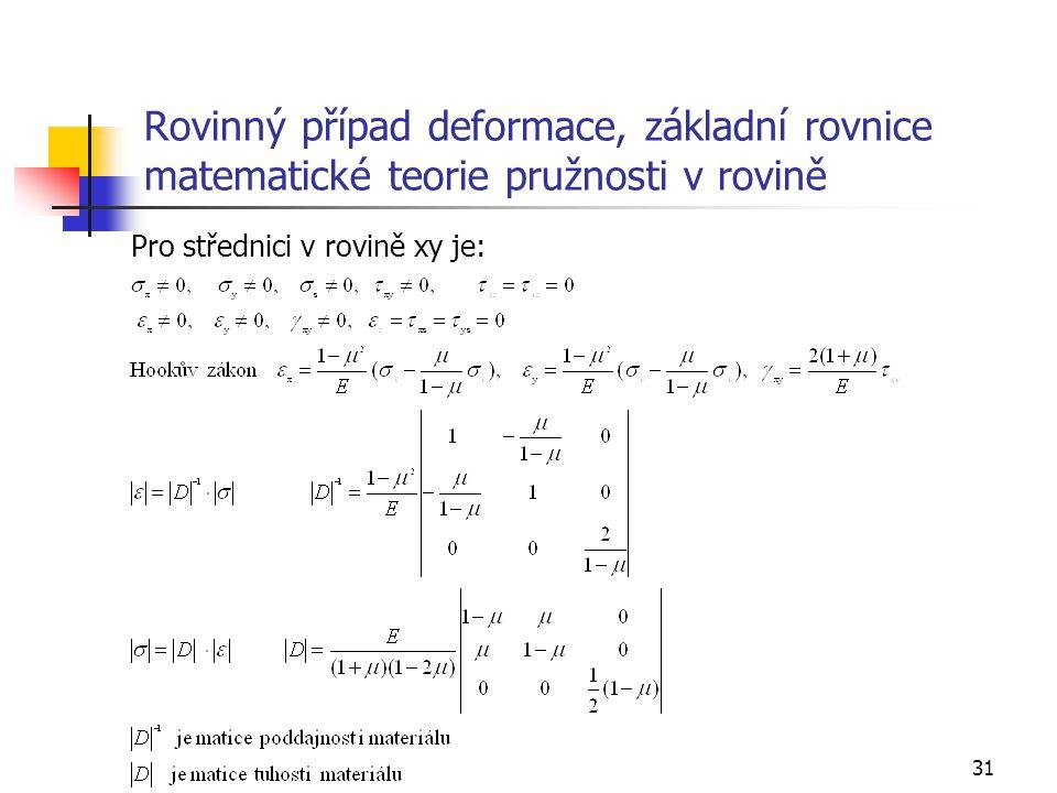 31 Rovinný případ deformace, základní rovnice matematické teorie pružnosti v rovině Pro střednici v rovině xy je: