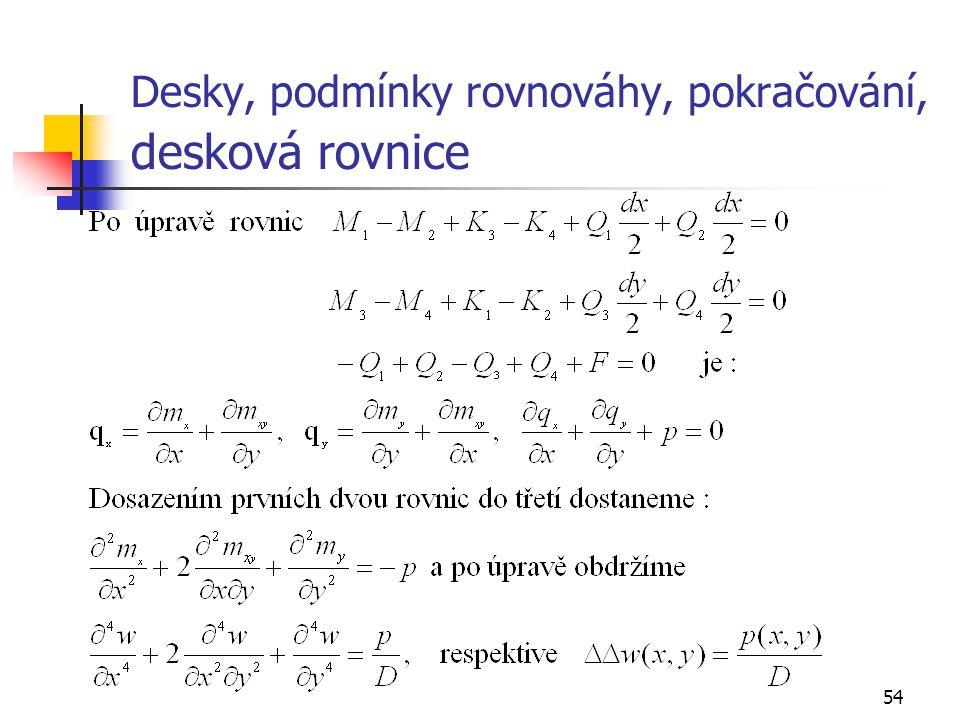 54 Desky, podmínky rovnováhy, pokračování, desková rovnice