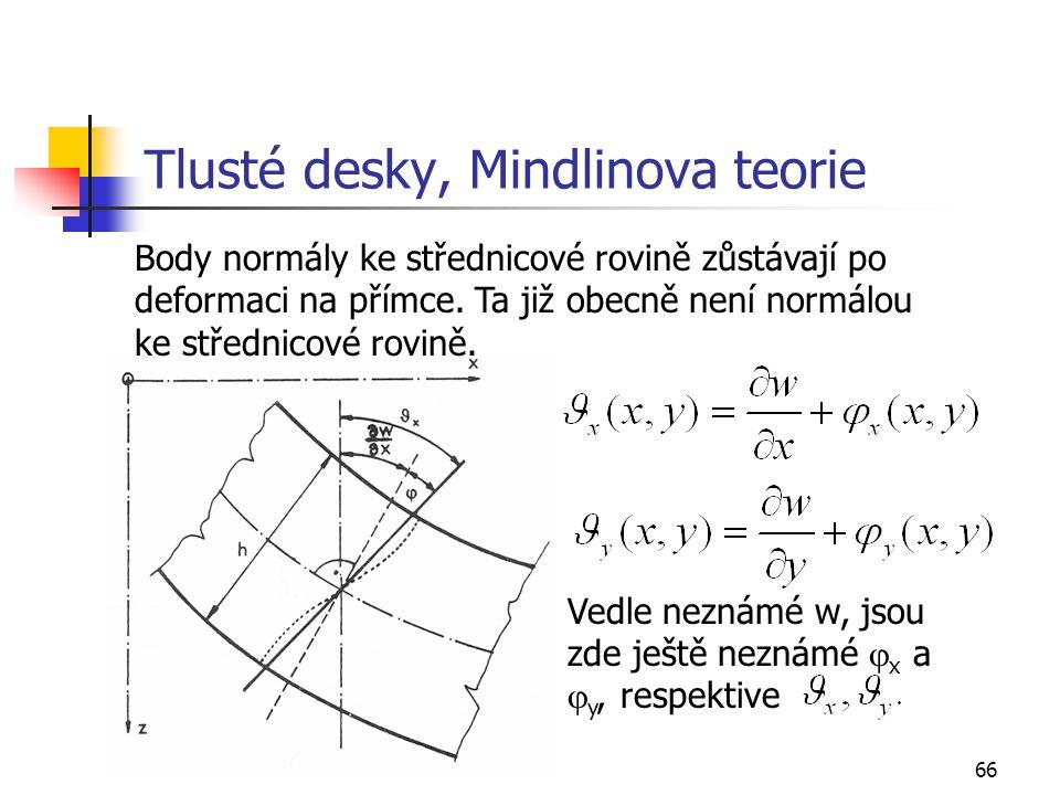 66 Tlusté desky, Mindlinova teorie Body normály ke střednicové rovině zůstávají po deformaci na přímce. Ta již obecně není normálou ke střednicové rov