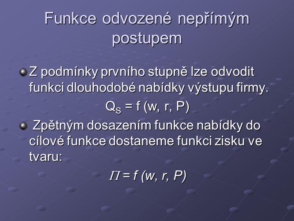 Přímý postup: podmínky optima Podmínky prvního řádu δ  / δK = P [δ f (K,L) / δ K] – r δ  / δL = P [δ f (K,L) / δ L] - w Čili: P [δ f (K,L) / δ K] = r P [δ f (K,L) / δ L] = w Podmínky druhého řádu δ 2  / δ K 2 = P [δ MPK / δ K] < 0 δ 2  / δ L 2 = P [δ MPL / δ L] < 0
