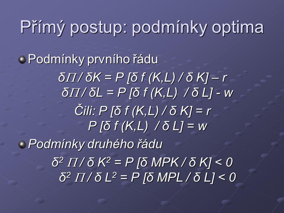 Přímý postup: podmínky optima Podmínky prvního řádu δ  / δK = P [δ f (K,L) / δ K] – r δ  / δL = P [δ f (K,L) / δ L] - w Čili: P [δ f (K,L) / δ K] =